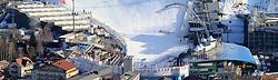 31.01.2013, Schladming, AUT, FIS Weltmeisterschaften Ski Alpin, Schladming 2013, Vorberichte, im Bild das Planai-Zielstadion mit voestalpine skygate und Tribuenen am 31.01.2013 // Planai finish area with voestalpine skygate and tribunes on 2013/01/31, preview to the FIS Alpine World Ski Championships 2013 at Schladming, Austria on 2013/01/31. EXPA Pictures © 2013, PhotoCredit: EXPA/ Martin Huber