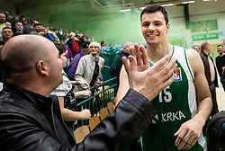 Jure Balazic of Krka and fans celebrate after winning during basketball match between KK Krka and KK Petrol Olimpija in 22nd Round of ABA League 2018/19, on March 17, 2019, in Arena Leon Stukelj, Novo mesto, Slovenia. Photo by Vid Ponikvar / Sportida