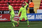 Brighton striker Jiri Skalak (38) scores a goal and celebrates putting Brighton 2-1 ahead during the Sky Bet Championship match between Charlton Athletic and Brighton and Hove Albion at The Valley, London, England on 23 April 2016.