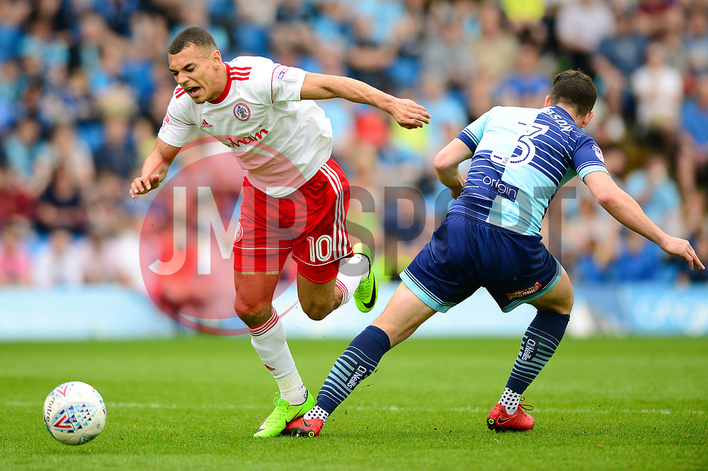Kayden Jackson of Accrington Stanley is fouled by Joe Jacobson of Wycombe Wanderers - Mandatory by-line: Dougie Allward/JMP - 21/04/2018 - FOOTBALL - Adam's Park - High Wycombe, England - Wycombe Wanderers v Accrington Stanley - Sky Bet League Two