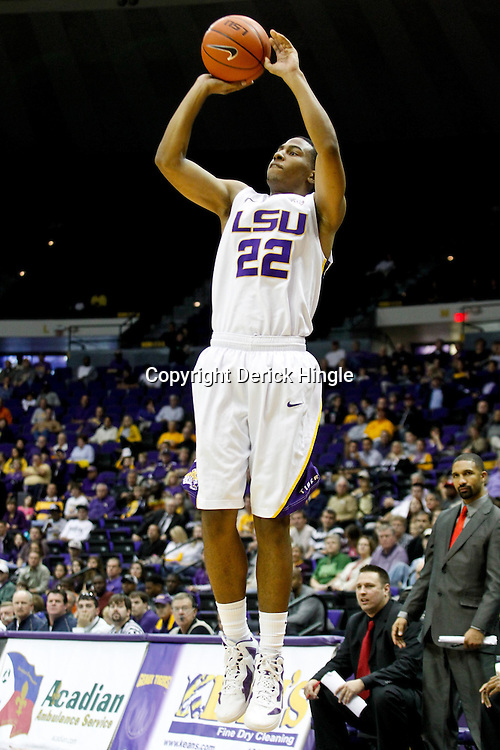 December 29, 2011; Baton Rouge, LA; LSU Tigers guard Ralston Turner (22) shoots against the Grambling State Tigers during the first half of a game at the Pete Maravich Assembly Center.  Mandatory Credit: Derick E. Hingle-US PRESSWIRE