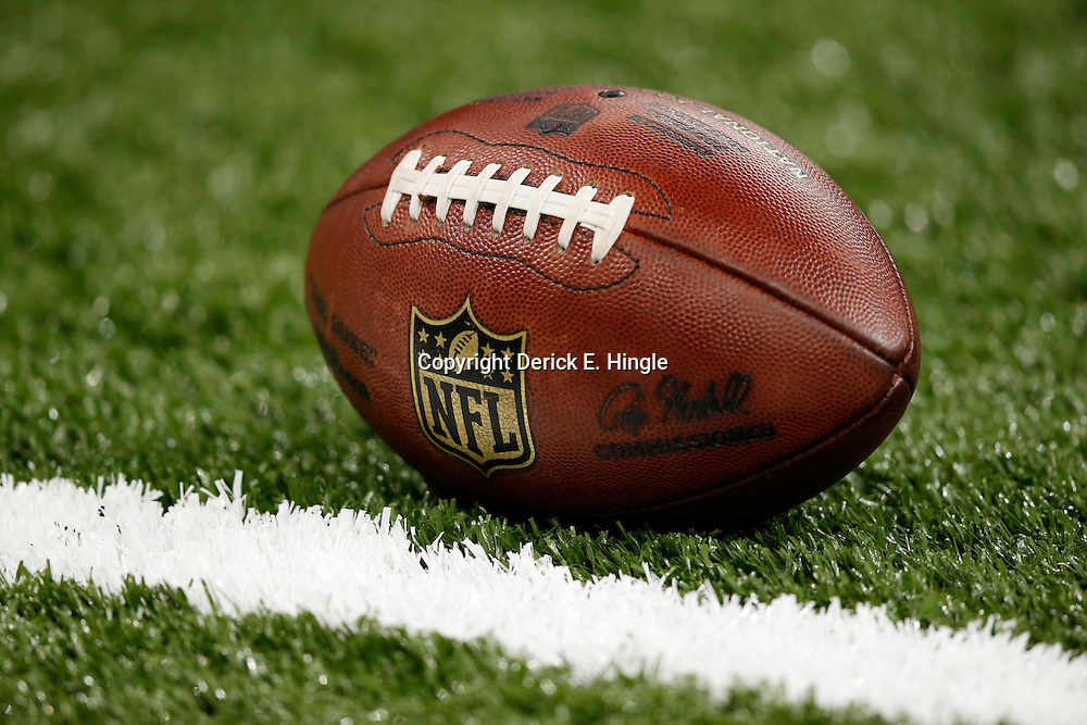 Aug 9, 2013; New Orleans, LA, USA; A detail of a NFL football before a preseason  game between the New Orleans Saints and the Kansas City Chiefs at the Mercedes-Benz Superdome. Mandatory Credit: Derick E. Hingle-USA TODAY Sports