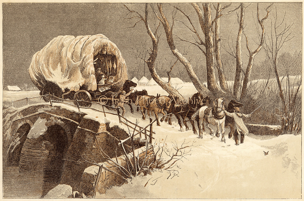 The Christmas Wagon: Carter and his team struggling through the snow. Colour-printed engraving London 1866
