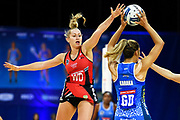 Tactix Charlotte Elley looks to block a pass.<br /> Mystics v Tactix, ANZ Premiership, The Trusts Arena, Auckland, New Zealand. Wednesday 8 May 2019. © Copyright Image: Marc Shannon / www.photosport.nz.