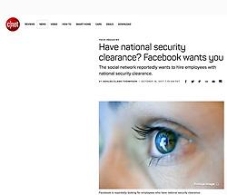 c/net website; detail of Facebook logo in eye