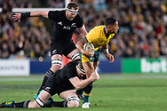 SYDNEY, NSW - AUGUST 18: Australian player Israel Folau (15) almost breaks the tackle at the Bledisloe Cup rugby test match between Australia and New Zealand at ANZ Stadium in Sydney on August 18, 2018. (Photo by Speed Media/Icon Sportswire)