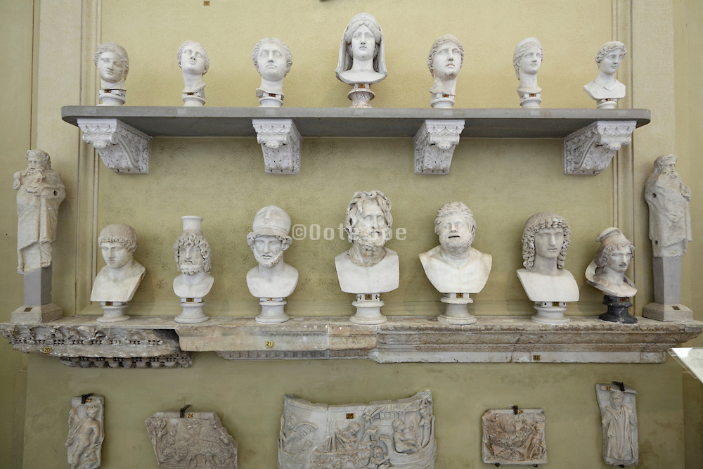 various busts inside the vatican museum