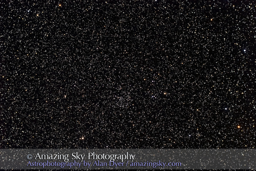 NGC6811 open cluster in Cygnus. Stack of two 6 minute exposures at f/4.5 with Astro-Physics Traveler apo refractor and Canon 20Da at ISO800.