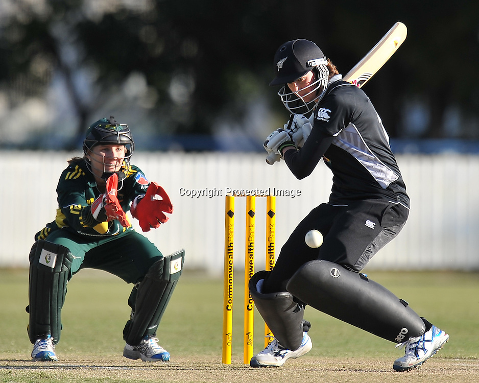 Nicola Browne sets to play a cut shot for New Zealand ~ Game 7 (ODI) of the Rose Bowl Trophy Cricket played between Australia and New Zealand at Alan Border Field in Brisbane (Australia) ~ Thursday 16th June 2011 ~ Photo : Steven Hight (AURA Images) / Photosport