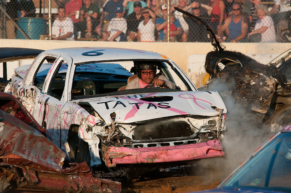 Breast cancer awareness vehicle in a demolition derby