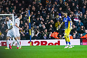 Leeds United defender Luke Ayling (2) celebrates at full time with Leeds United goalkeeper Kiko Casilla (13) during the EFL Sky Bet Championship match between Leeds United and Bristol City at Elland Road, Leeds, England on 15 February 2020.
