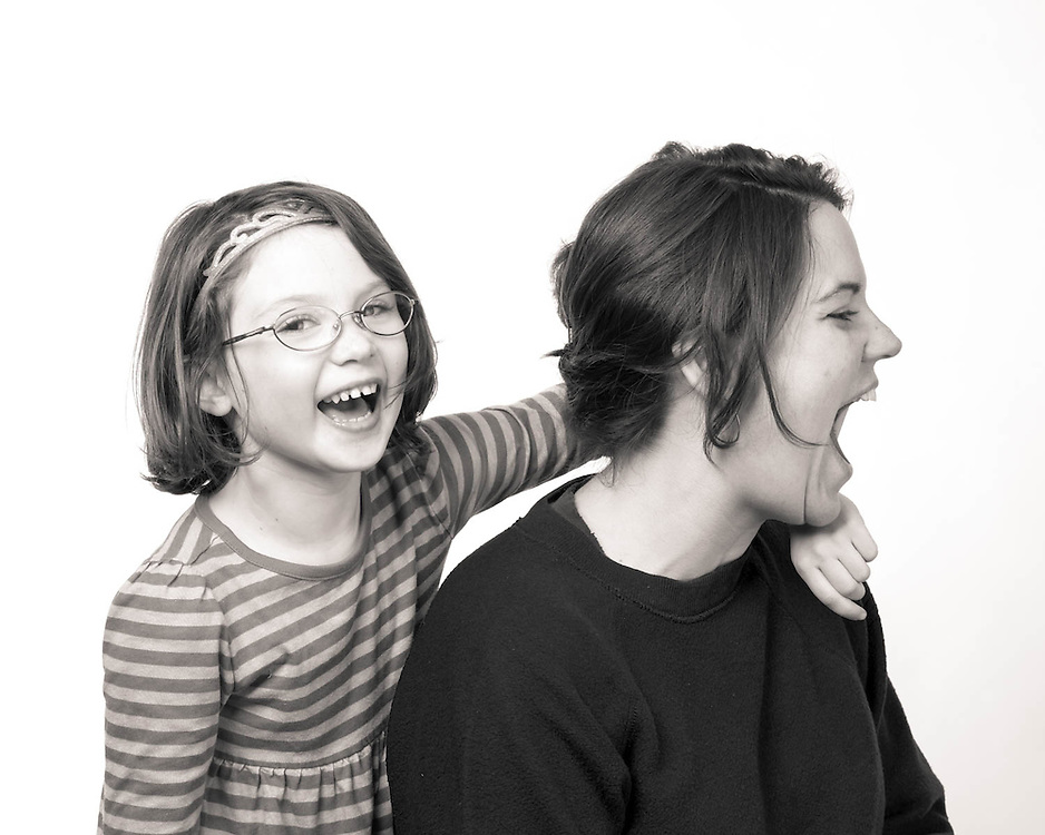 Mother and daughter in the studio. Getting a little silly