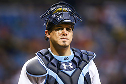 September 16, 2017 - St. Petersburg, Florida, U.S. - WILL VRAGOVIC       Times.Tampa Bay Rays catcher Wilson Ramos (40) looks toward the dugout after the RBI double by Boston Red Sox third baseman Rafael Devers (11) in the sixth inning of the game between the Boston Red Sox and the Tampa Bay Rays at Tropicana Field in St. Petersburg, Fla. on Saturday, Sept. 16, 2017. (Credit Image: © Will Vragovic/Tampa Bay Times via ZUMA Wire)