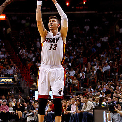 March 3, 2011; Miami, FL, USA; Miami Heat shooting guard Mike Miller (13) during a game against the Orlando Magic at the American Airlines Arena. The Magic defeated the Heat 99-96.    Mandatory Credit: Derick E. Hingle