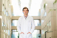 Pablo Ross, a stem cell researcher who works with chimeras, outside his lab on the UC Davis Campus, Thursday, September 28, 2017. Ross is working on creating organs from human stem cells that can be grown in pigs and other livestock. <br /> Photo Brian Baer