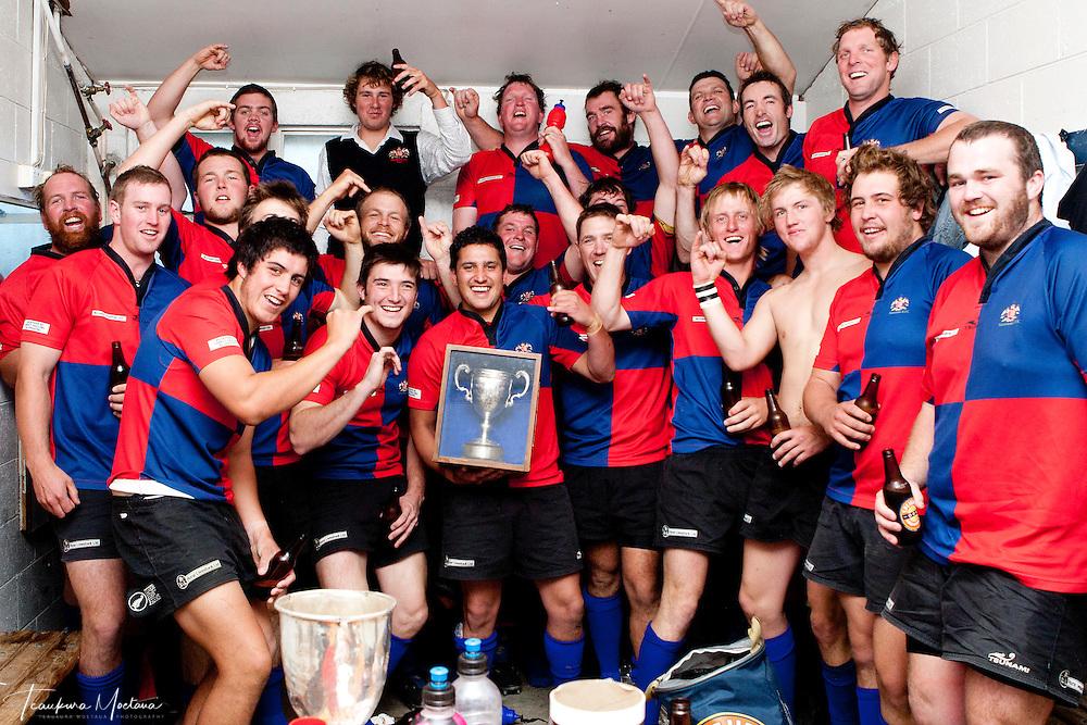 Maniototo rugby team celebrates after winning the White Horse Cup at Jack Reid Park, Arrowtown, New Zealand, Saturday April 14, 2012. Credit: Teaukura Moetaua / Media Sport