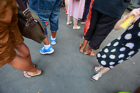 feet in line at food festival-Menilmontant, Paris