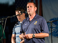 Hamptonburgh, New York - Orange County Executive Steve Neuhaus speaks to the crowd before the 2017 Freedom Fest fireworks show at Thomas Bull Memorial Park on July 15, 2017. The event featured music followed by fireworks.