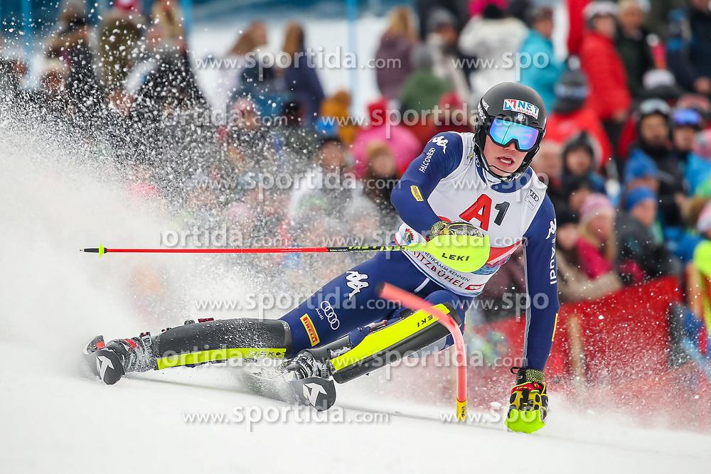 26.01.2020, Streif, Kitzbühel, AUT, FIS Weltcup Ski Alpin, Slalom, Herren, 2. Lauf, im Bild Alex Vinatzer (ITA) // Alex Vinatzer of Italy in action during his 2nd run in the men's Slalom of FIS Ski Alpine World Cup at the Streif in Kitzbühel, Austria on 2020/01/26. EXPA Pictures © 2020, PhotoCredit: EXPA/ Johann Groder