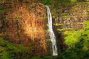 Waipoo Falls (aerial), Waimea Canyon State Park, Kauai, Hawaii USA