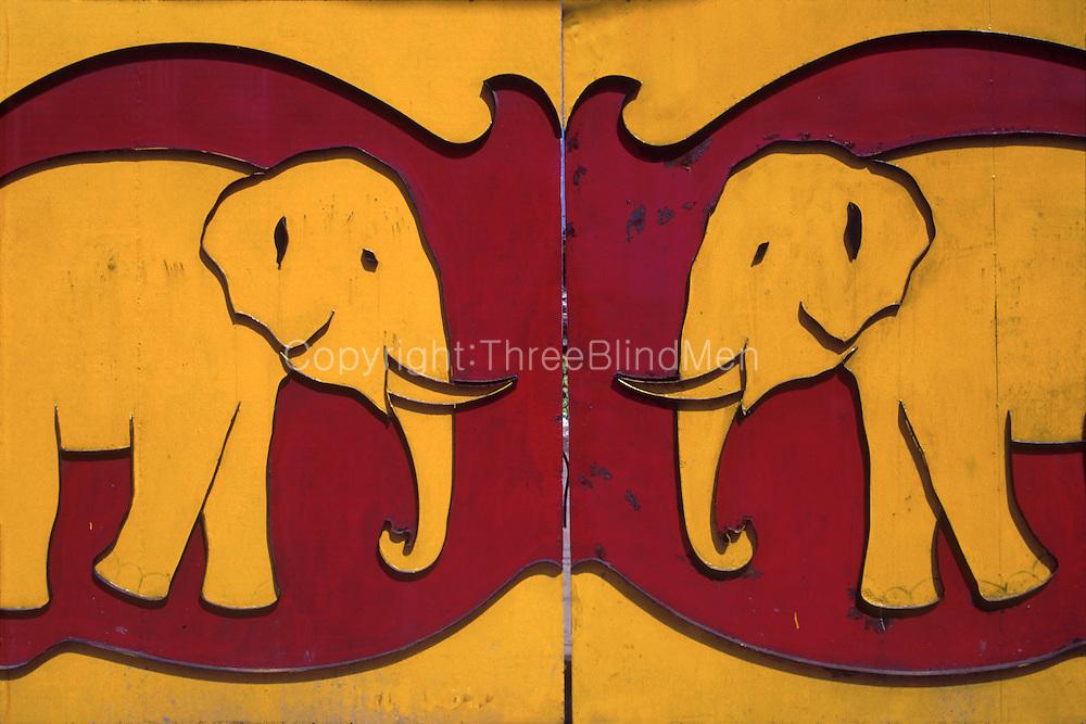 The metal gates to the Elephant Match Company in Kelaniya.