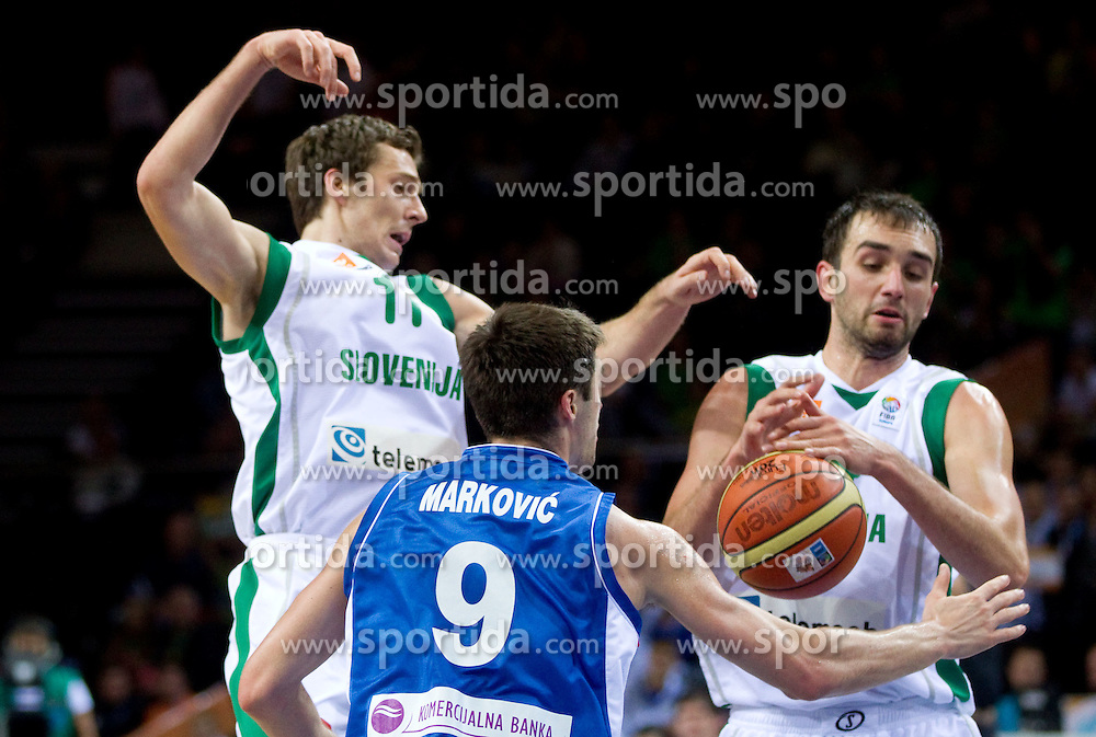 Stefan Markovic of Serbia vs Goran Dragic of Slovenia and Mirza Begic of Slovenia during basketball game between National basketball teams of Slovenia and Serbia in 7th place game of FIBA Europe Eurobasket Lithuania 2011, on September 17, 2011, in Arena Zalgirio, Kaunas, Lithuania. Slovenia defeated Serbia 72 - 68 and placed 7th. (Photo by Vid Ponikvar / Sportida)