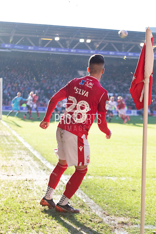 Tiago Silva fires over a corner during the EFL Sky Bet Championship match between Nottingham Forest and Luton Town at the City Ground, Nottingham, England on 19 January 2020.