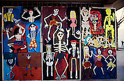 Funny murals for Di?a de los Muertos (All saints, day of the dead) at a school yard.