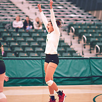 5th year outside hitter, Ashlee Sandiford (1) of the Regina Cougars during the Women's Volleyball home game on Fri Jan 18 at Centre for Kinesiology, Health & Sport. Credit: Arthur Ward/Arthur Images