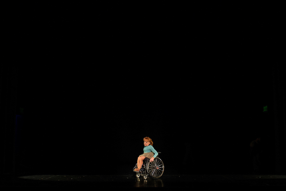 Photographs of the Dancing Wheels Company &amp; School rehearsal for &quot;The Lasting Legacy&quot; performance at Baker Center Theater on the Ohio University campus in Athens, Ohio on Oct. 13, 2015. The Dancing Wheels Company &amp; School has been advocating and performing physically integrated dance for over 30 years.<br />  <br /> [Photograph by Joel Prince]