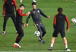 Manchester City coach Mikel Arteta joins in training with Sergio Aguero - Mandatory by-line: Matt McNulty/JMP - 31/10/2016 - FOOTBALL - City Football Academy - Manchester, England - Manchester City v Barcelona - UEFA Champions League - Group C