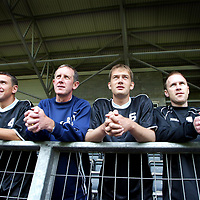St Johnstone back in training..01.07.02<br />Manager Billy Stark with three new faces to help in the fight to win promotion back to th SPL, from left, John Robertson, Billy Stark, Ian Maxwell and Mark Reilly<br /><br />See story by Gordon Bannerman Tel: 01738 493213<br />Pic by Graeme Hart<br />Copyright Perthshire Picture Agency<br />Tel: 01738 623350 / 07990 594431