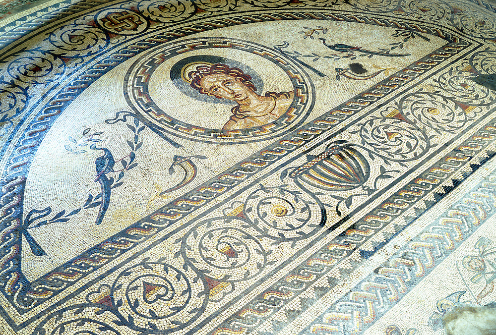 Detail of the Venus and Gladiator floor mosaic in the Roman villa at Bignor, West Sussex, England.