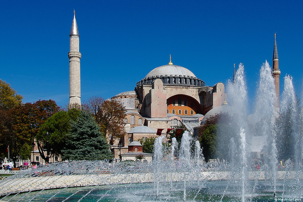 Aya Sofya as viewed from the fountain on a bright September day.