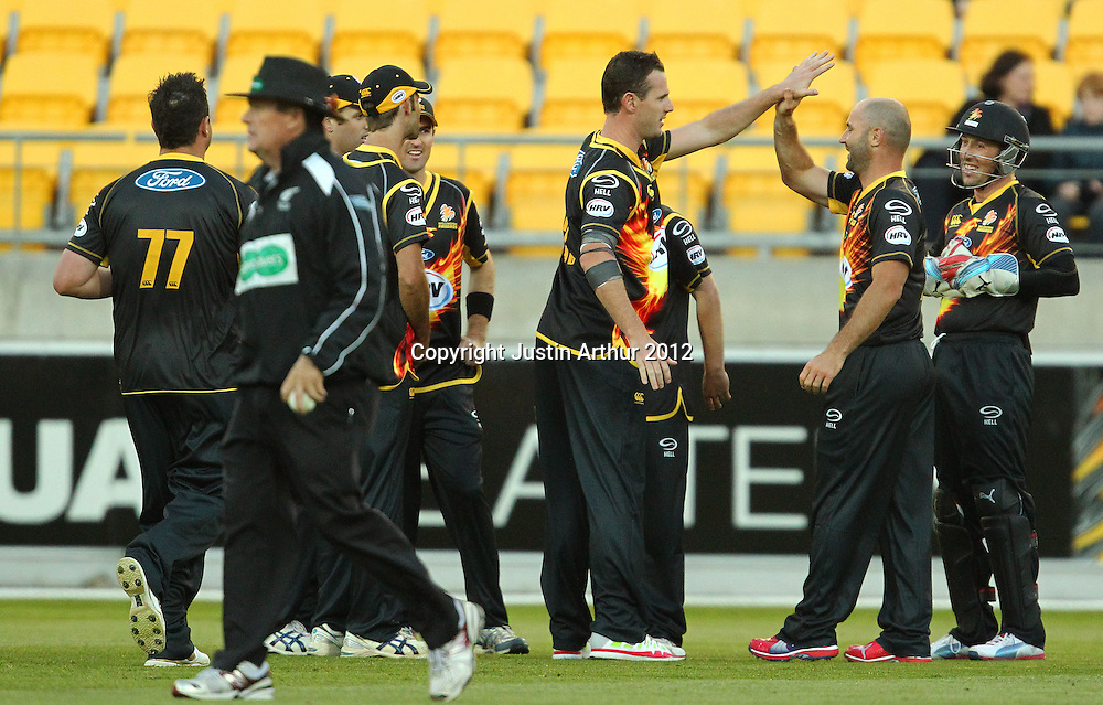 Firebirds players celebrate a wicket during the 2012/2013 HRV Cup Twenty20 session. Wellington Firebirds v Canterbury Wizards at Westpac Stadium, Wellington, New Zealand on Friday 9 November 2012. Photo: Justin Arthur / photosport.co.nz