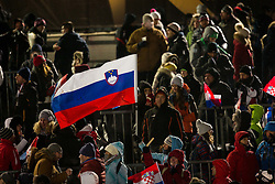 """Slovenian flag during FIS Alpine Ski World Cup 2016/17 Men's Slalom race named """"Snow Queen Trophy 2017"""", on January 5, 2017 in Course Crveni Spust at Sljeme hill, Zagreb, Croatia. Photo by Ziga Zupan / Sportida"""