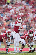 FAYETTEVILLE, AR - SEPTEMBER 5:  Brandon Allen #10 of the Arkansas Razorbacks points to who to block during a game against the UTEP Miners at Razorback Stadium on September 5, 2015 in Fayetteville, Arkansas.  The Razorbacks defeated the Miners 48-13.  (Photo by Wesley Hitt/Getty Images) *** Local Caption *** Brandon Allen