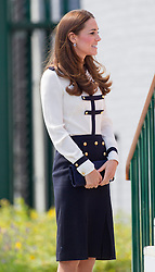 BLETCHLEY- UK - 18-JUNE-2014:  Britain's Catherine,  HRH The Duchess of Cambridge visits Bletchley Park, a heritage and education site, on Wednesday 18th June 2014.<br />  <br /> Her Royal Highness will view the restored location, tour the WWII Codebreaking Huts and heard about the achievements of the Codebreakers whose work is said to have helped shorten the war by two years.<br /> Photograph by Ian Jones