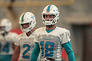 Miami Dolphins wide receiver Reece Horn (18) warms up at indoor practice during training camp at the Baptist Health Training Facility at Nova Southeastern University, Friday, August 2, 2019, in Davie, Fla. (Kim Hukari/Image of Sport)