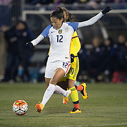Christen Press, USA, shoots during the USA Vs Colombia, Women's International friendly football match at the Pratt & Whitney Stadium, East Hartford, Connecticut, USA. 6th April 2016. Photo Tim Clayton