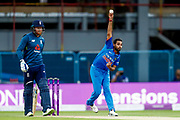 India ODI bowler Bhuvneshwar Kumar  with a delivery  during the 3rd Royal London ODI match between England and India at Headingley Stadium, Headingley, United Kingdom on 17 July 2018. Picture by Simon Davies.