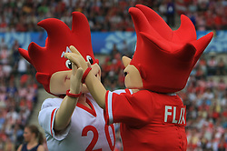 Masks Trix and Flix before the UEFA EURO 2008 Group B soccer match between Austria and Croatia at Ernst-Happel Stadium, on June 8,2008, in Vienna, Austria.  (Photo by Vid Ponikvar / Sportal Images)