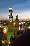 Egypt. Cairo elevated view.  - Qalawun complex. minarets of An Nasr  and Qalawun in the old islamic city,  . in Al Mu'izz street .  view from the minaret of the madrasa of As Zahir BARQUQ  mosque Cairo - Egypt