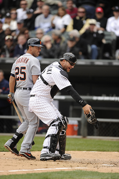 CHICAGO - APRIL 13:  A.J. Pierzynski #12 of the Chicago White Sox reacts after home plate umpire Adrian Johnson #80 called a ball foul during the game against the Detroit Tigers on Opening Day, April 13, 2011 at U.S. Cellular Field in Chicago, Illinois.  The White Sox defeated the Tigers 5-2.  (Photo by Ron Vesely)   Subject:  A.J. PIerzynski; Adrian Johnson