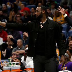 Mar 31, 2019; New Orleans, LA, USA; Los Angeles Lakers forward LeBron James reacts after a three point basket by a teammate during the second half against the New Orleans Pelicans at the Smoothie King Center. Mandatory Credit: Derick E. Hingle-USA TODAY Sports