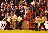 Fotball: Aberdeen v Rangers, Scottish Premier League. Pittodrie. Saturday January 19th.  2002. Referee Mike McCurry takes the players off  after crowd trouble.<br />