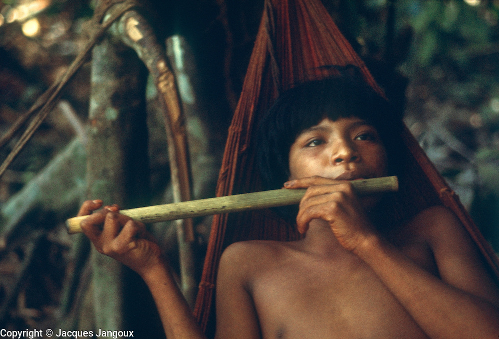 South American Indians: Eñepa (Panare) young man playing flute in hammock. Guiana Highlands, Venezuela. The Eñapa language belongs to the Cariban language family.
