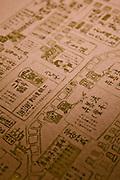 Place mat with map of Dotonburi at Kigawa restaurant.