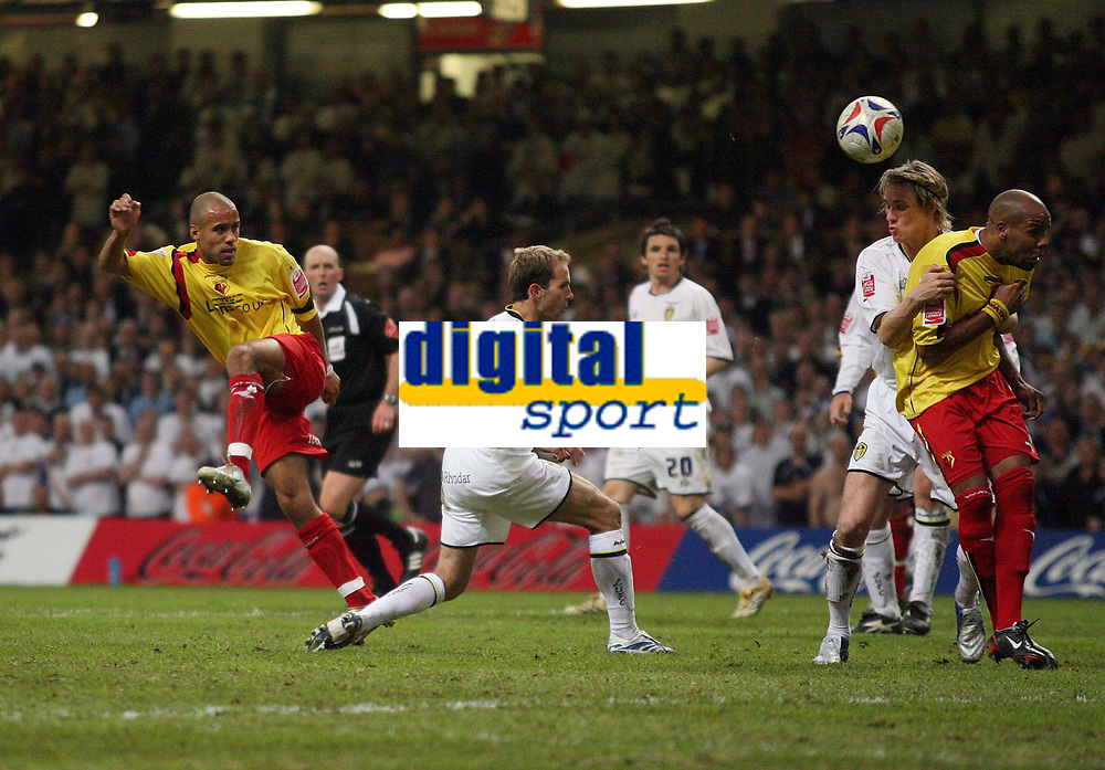 Photo: Rich Eaton.<br /> <br /> Leeds United v Watford. Coca Cola Championship. Play off Final. 21/05/2006.<br /> <br /> James Chambers (left) fires home Watfords second goal