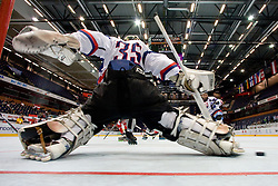 Jozef Ondrejka of Slovakia with no chance to stop the puck on Stefan Wiedmaier's shot at IIHF In-Line Hockey World Championships qualification match between National teams of Germany and Great Britain on July 1, 2010, in Karlstad, Sweden. (Photo by Matic Klansek Velej / Sportida)